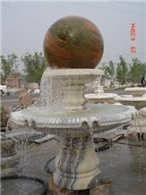 White Marble Floating Ball Fountain