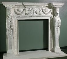 Mantel, White Marble Fireplace