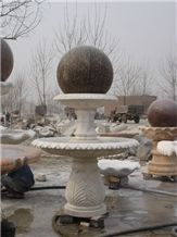 White Marble Rolling Sphere Fountains