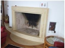 Fireplace with Bianco Avorio Limestone, Beige Limestone