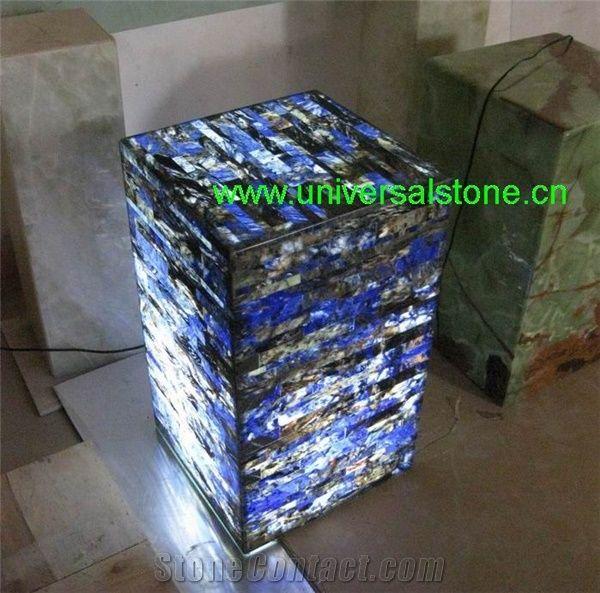 Backlit Blue Precious Onyx Light Box from China - StoneContact com