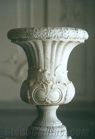 Beijing White Marble Carved Flower Pot Flower Stand