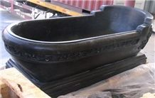 Black Marble Carved Bathtub