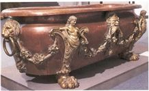 Chinese Red Marble Bathtub