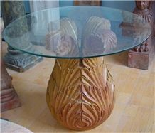 Limestone Carved Table Base, Yellow Limestone Tables