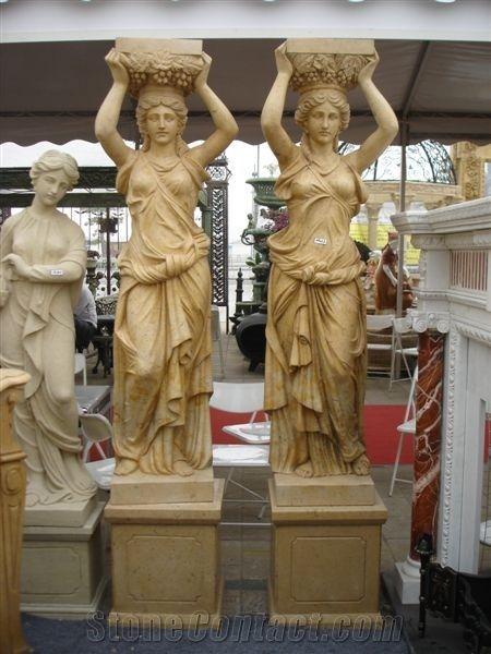 Sculpture Figure Sculpture Statue, Hy Yellow Limestone ...