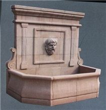 Beige Limestone Wall Mounted Fountain