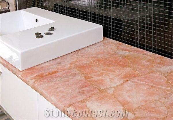 Concetto Rose Quartz Semiprecious Stone Countertop From