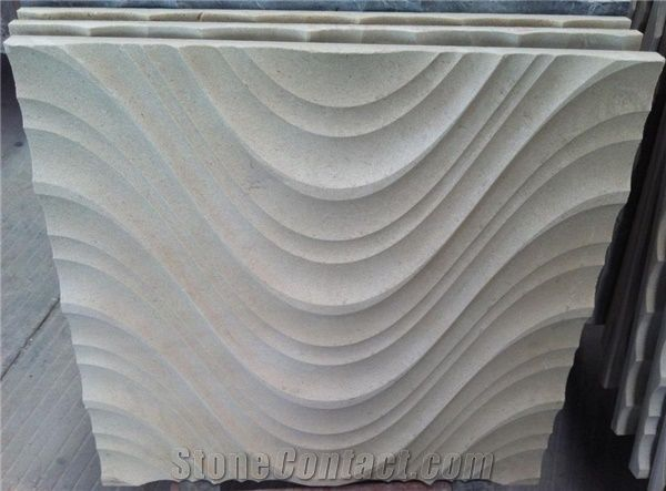 3d Marble Decorative Wall Panels White Limestone Wall