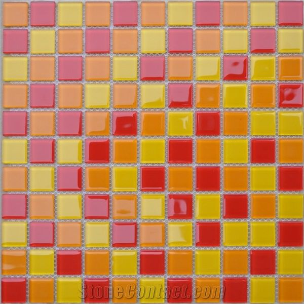 Red Yellow Glass Tile Mosaic From China Stonecontact Com
