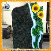 China Factory Produce Olive Green Granite Monument, Sun Flower Engraving and Painting Headstone, Gravestone for Cemetery