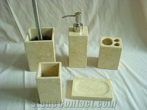 Dl Stone Bathroom Accessories, Natural Stone Soap, Sunny Yellow Beige Marble Bath Accessories
