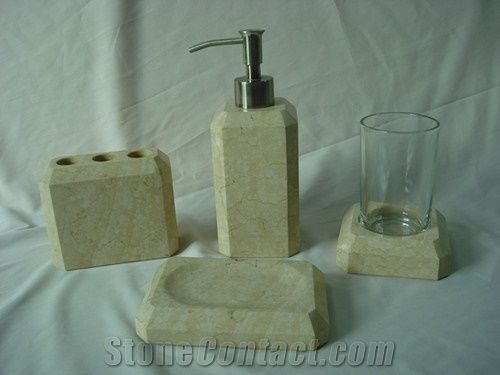 Dl Stone Bathroom Accessories Sunny Beige Marble Bath Accessories From China Stonecontact Com