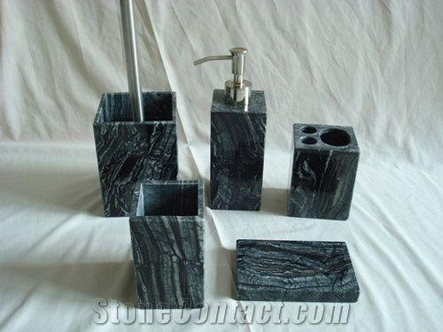 Antique Wooden Grey Black Marble Bath Accessories