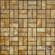 Antique Yellow Light Travertine Mosaic, Soraya Yellow Travertine