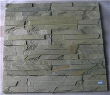 Home Wall Buiding Silver Quartz Culture Stone, Green Slate Cultured Stone