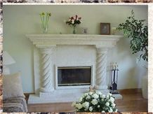 White Coral Stone Fireplaces, White Classic Coral Stone Carved Fireplace Decorating