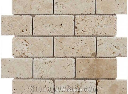 Savannah Brick Mosaic Tiles Beige Travertine Brick Mosaic