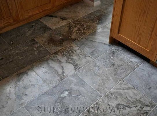 Silver Travertine Floor Tiles Brushed And Sawn E Turkey Grey