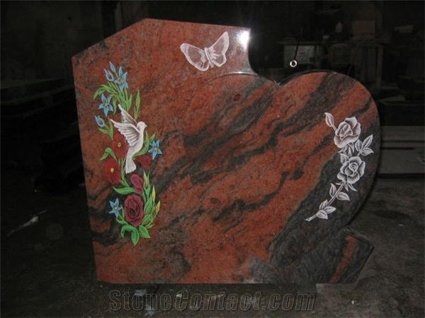 Multicolor Red Granite Flower Etching Tombstone From China