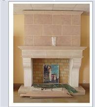 Hauteville Limestone Fireplace Mantel, Beige Limestone
