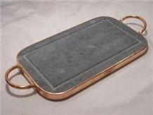 Barroca Soapstone Tray, Grey Soapstone