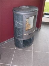 Fumaca Soapstone Fireplace, Green Soapstone