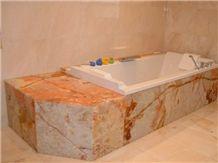 Onice Wonder Bathtub Surround, Yellow Onyx