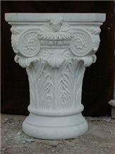White Marble Column Caps