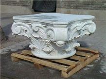 White Marble Column Top