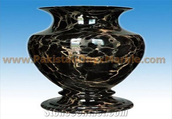 Black Gold Marble Flower Vase Gold Black Marble Home Decor From