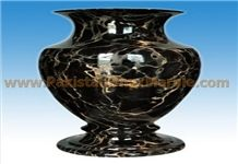 Black Gold Marble Flower Vase, Gold Black Marble Home Decor