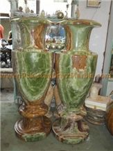 Dark Green Onyx Vases