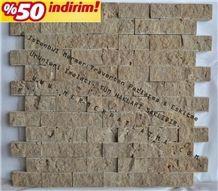 Antalya Noce Travertine Mosaic, Brown Travertine