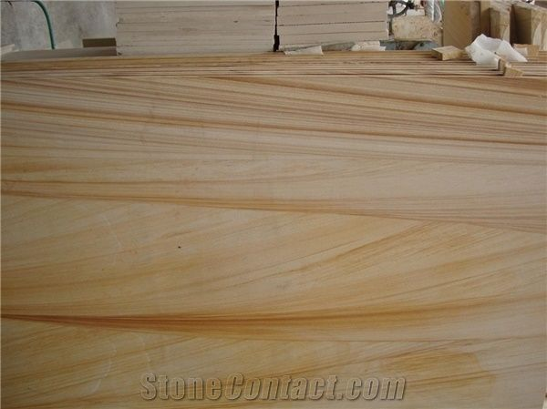 Teak Wood Sandstone Slabs India Yellow Sandstone