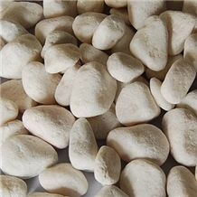 Natural Pebble Stone, White Marble Pebble Stone