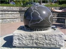 Granite Floating Sphere Fountain, Black Granite Fountain