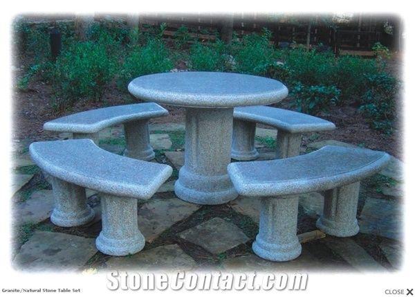 Granite Stone Table Set From China StoneContactcom - Stone picnic table set