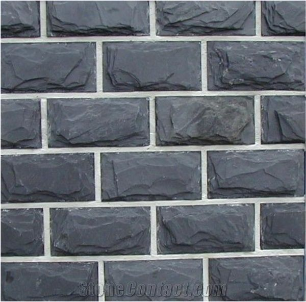 Split Face Black Slate Wall Tile From China Stonecontact Com
