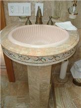 Breccia Oniciata Pedestal Basin, Beige Marble Pedestal Basin