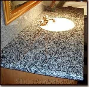 White Wave Granite Vanity Top Sea Wave Flower Grey