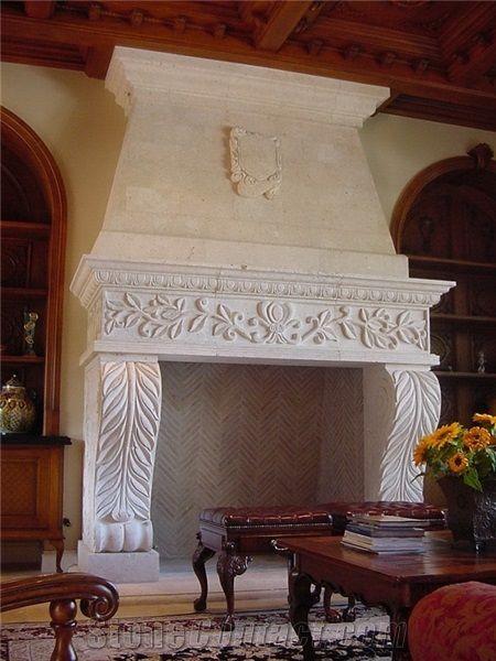 Coquina Shellstone Fireplace White Limestone Traditional Style