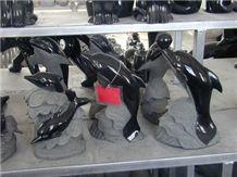 Dinglei Black Dolphin Stone Sculpture, Black Granite Sculpture