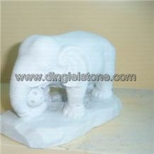 Dinglei Elephant Stone Sculpture, White Granite Sculpture