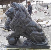 Dinglei Lion Sculpture, Black Granite Sculpture