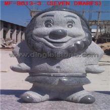 Dinglei Seven Dwarfs, Grey Granite Sculpture, Statue