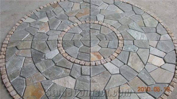 Natural Paving Stone Pattern Mosaic Patio From China