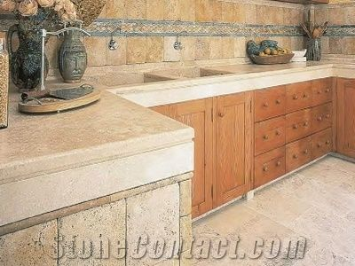 beige marble kitchen countertop