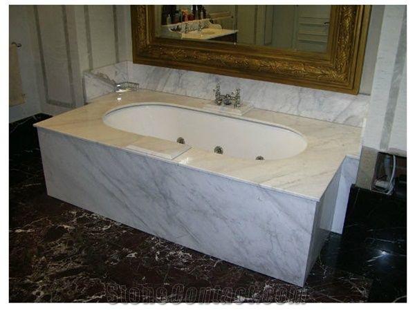 Bathtub Deck Surround With Carrara Marble Bianco Carrara
