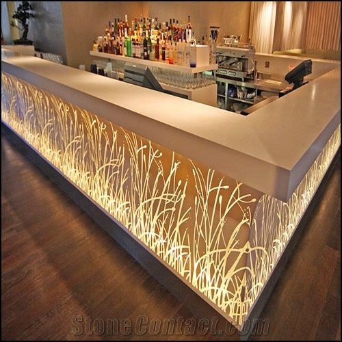Modern Corian Acrylic Solid Surface Cafe Bar Counter From
